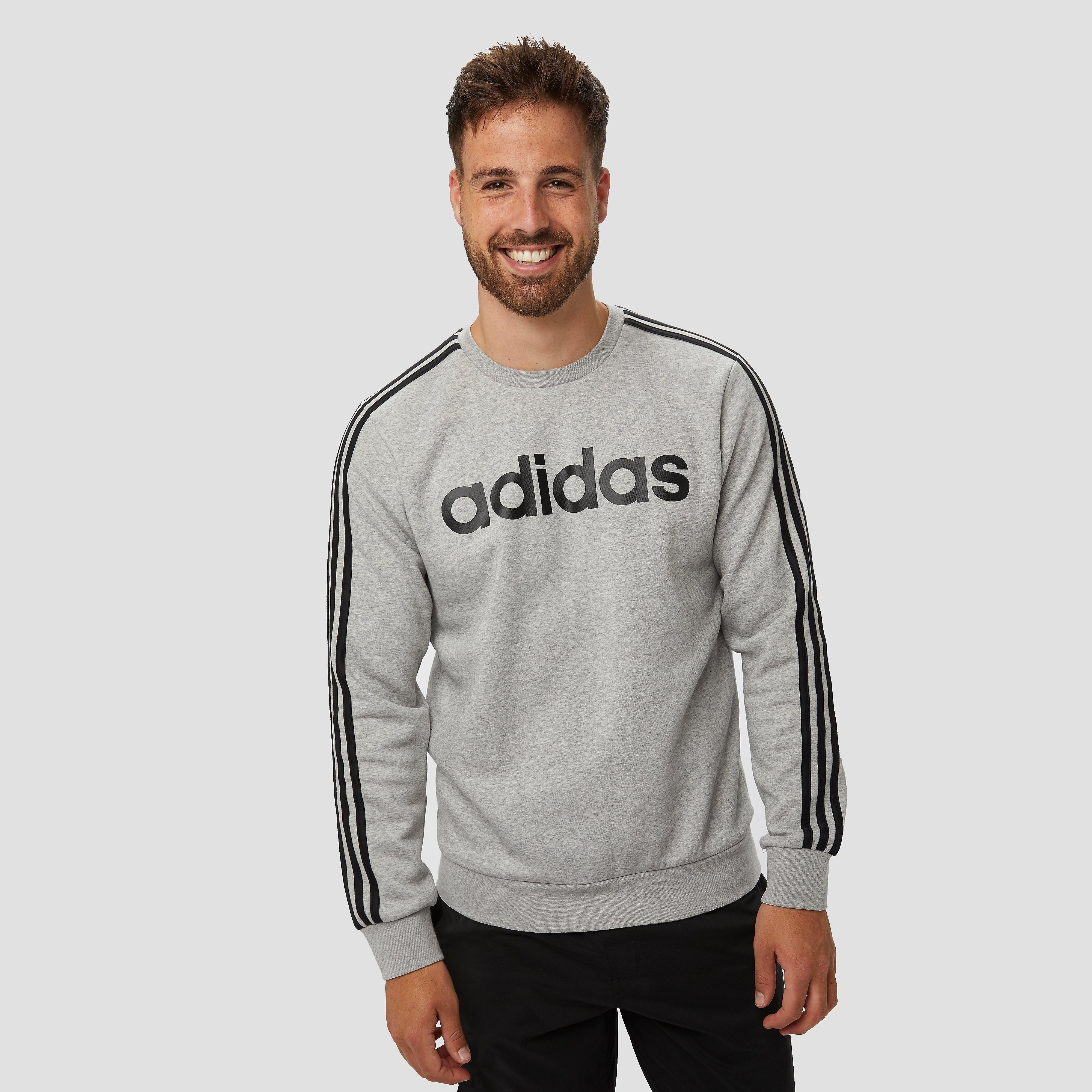adidas Essentials 3-stripes crew fleece sweater grijs heren Heren thumbnail